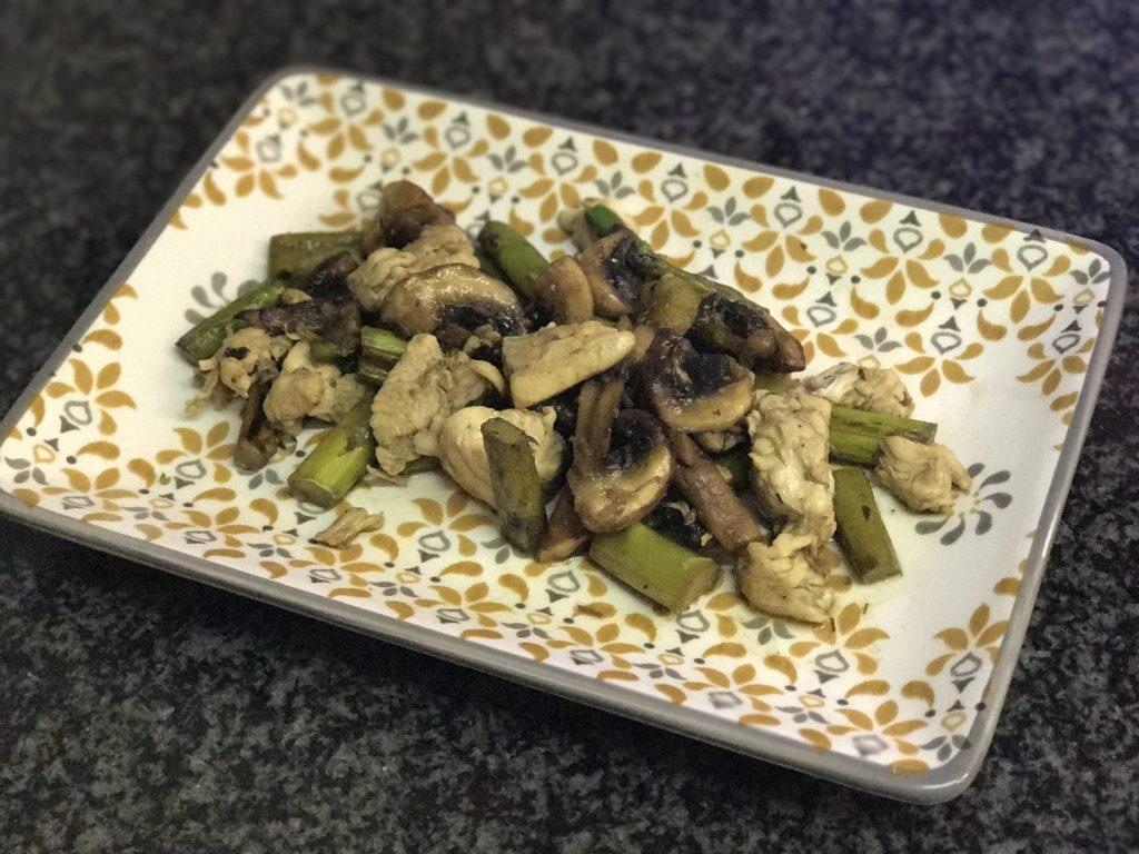 wok de portobello trigueros y pollo